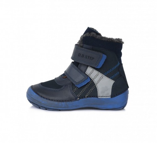D.D.step detské chlapčenské tmavomodré vysoké topánky s kožušinkou na suchý zips 25-30