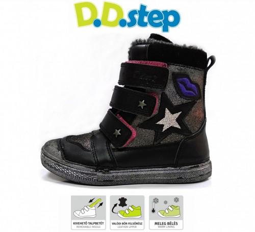 D.D.step čierne dievčenské kožušinové vysoké detské topánky na suchý zips 31-36