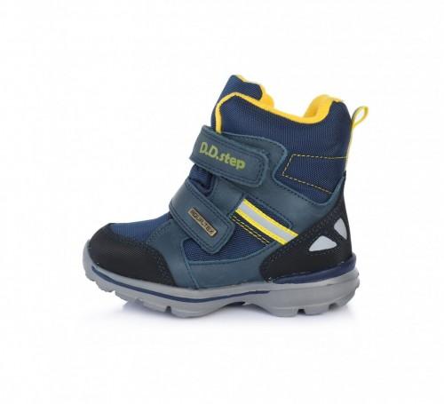 D.D.step modré chlapecké voděodolné THERMO kožešinové vysoké dětské boty na suchý zip 24-29