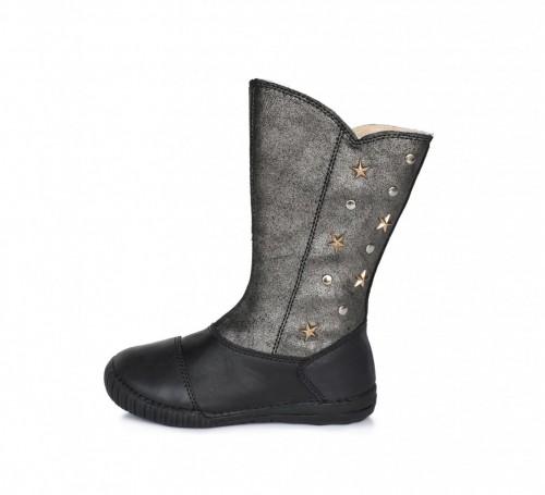 D.D.Step čierno-strieborné dievčenské čižmy s kožušinkou so zipsom na boku 25-30