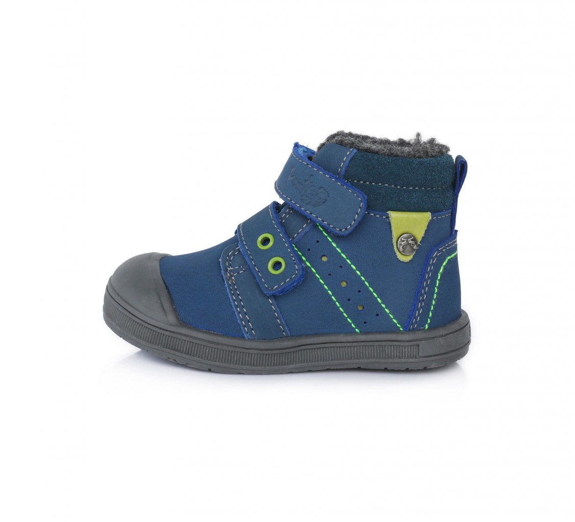 PONTE detské modré kotníkové supinované chlapčenské topánky na suchý zips 22-27 s kožušinou