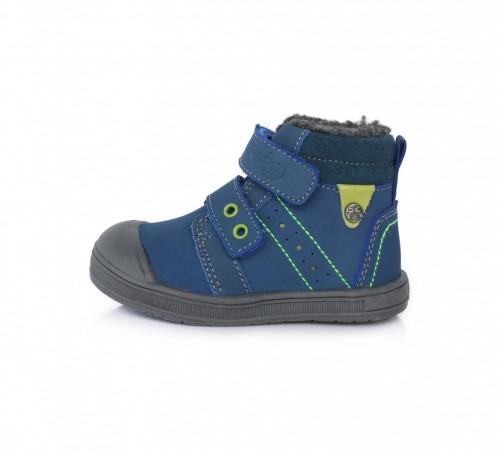 PONTE dětské modré kotníkové supinované chlapecké boty na suchý zip 22-27 s kožešinou