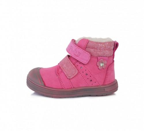 PONTE dětské růžové kotníkové supinované dívčí boty na suchý zip 22-27 s kožešinou
