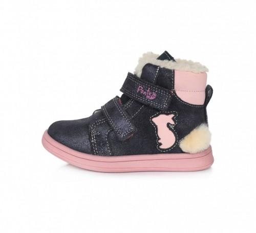 PONTE detské modro-ružové kotníkové supinované dievčenské topánky na suchý zips 22-27 s kožušinou