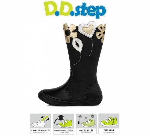 D.D.Step černé dívčí kozačky s kožešinkou se zipem na boku 25-30