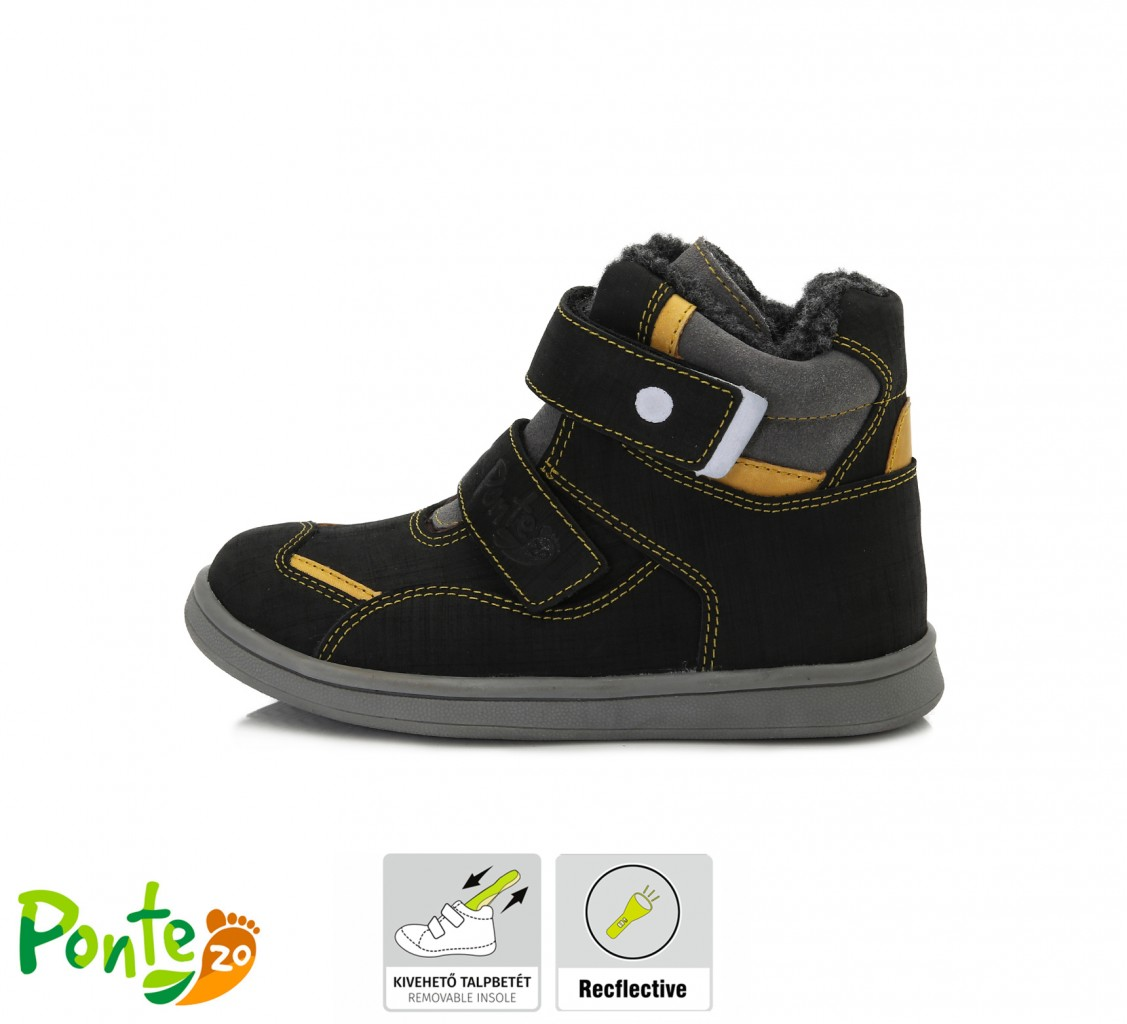 PONTE detské čierne kotníkové supinované chlapčenské topánky na suchý zips 28-33 s kožušinou