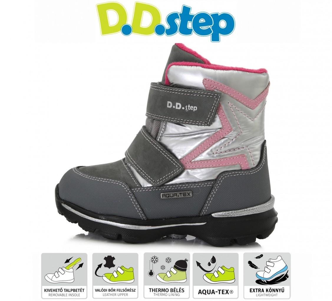 D.D.step sivé dievčenské VODEODOĽNÉ THERMO kožušinové vysoké detské topánky na suchý zips 24-29