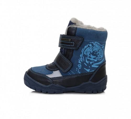 D.D.step modré chlapčenské VODEODOĽNÉ THERMO kožušinové vysoké detské topánky na suchý zips