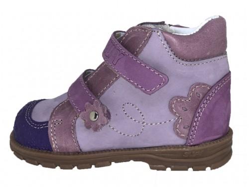 Supykids DORA detská supinovaná obuv so suchým zipsom fialovo-ružová mix s kožušinkou 19-32