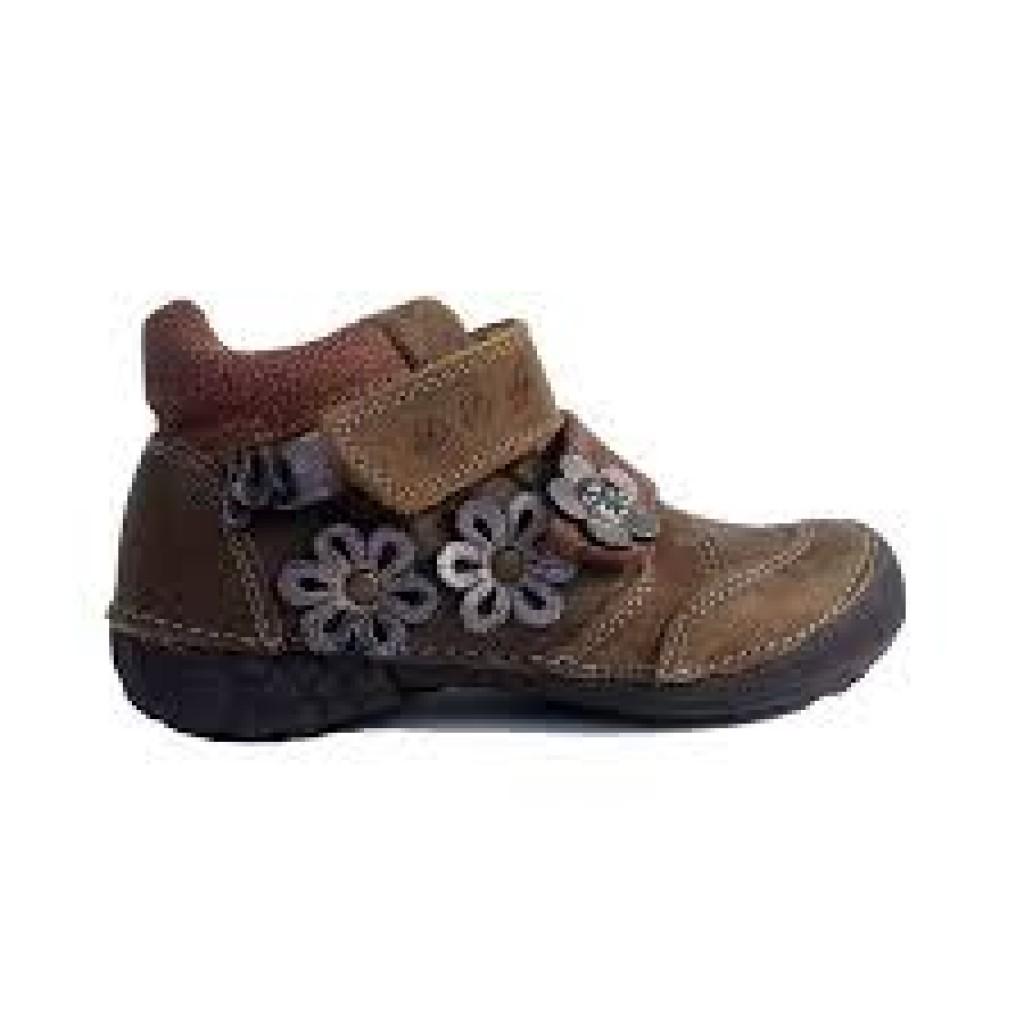 D.D.step hnědé dívčí kotníkové dětské boty na suchý zip 25-30