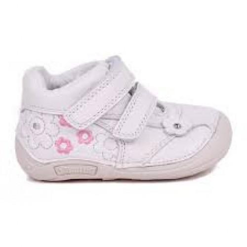 D.D.step biele dievčenské kotníkové detské topánky na suchý zips 19-24
