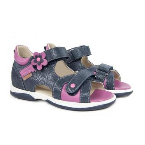MEMO KRISTINA modro-růžové dívčí supinované sandály 22-31