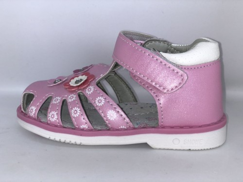 Růžové kytičkové dětské sandály 21-26