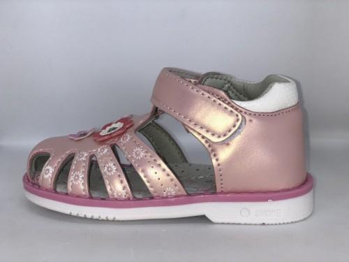 Bledě růžové kytičkové dětské sandály 21-26
