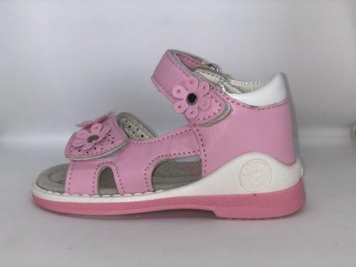 Růžové dětské sandály 21-26 s kytičkami