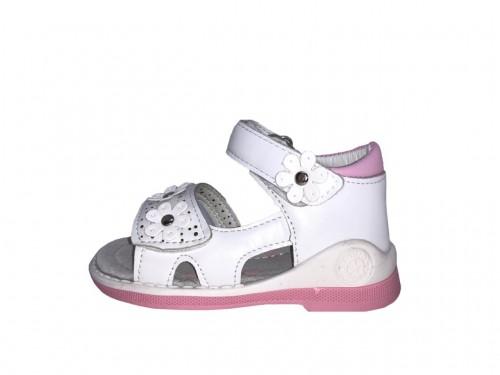 SUPYCOOL bílé dětské sandály 21-26 s kytičkami