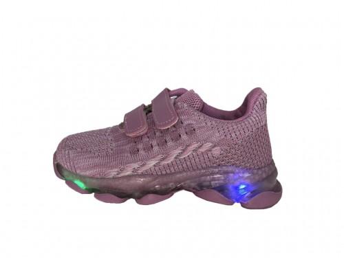 SUPYCOOL LED SVIETIACE dievčenské fialové plátené topánky so suchým zipsom 26-31