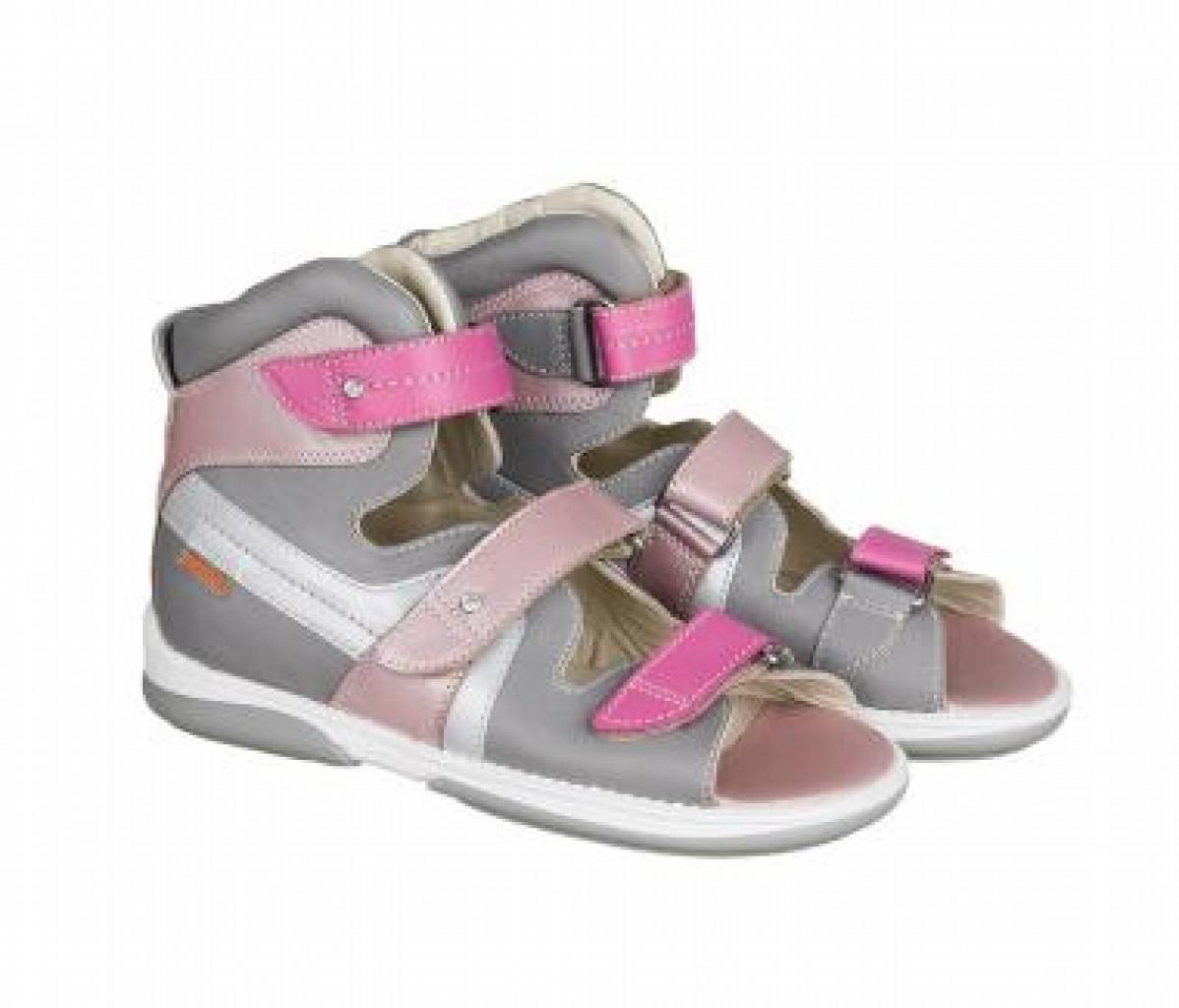 MEMO IRIS sivo ružové dievčenské supinované sandále 30-38