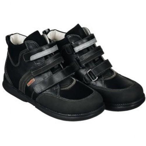 MEMO POLO Junior čierne unisex supinované topánky na suchý zips 22-31