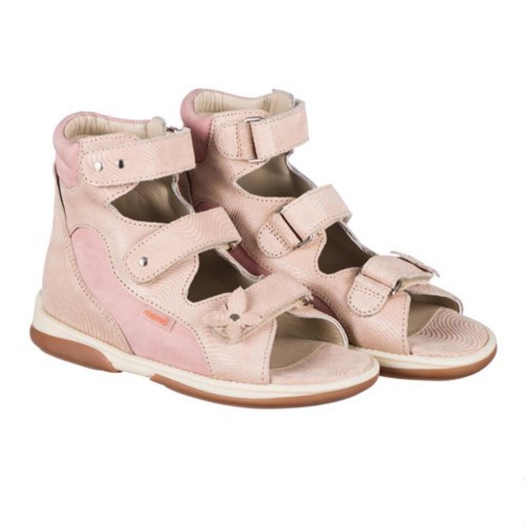MEMO AGNES rózsaszín-bézs lány supinált gyerekszandál 22-31