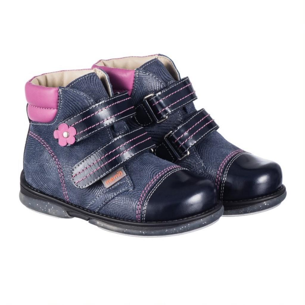 MEMO ALEX fialové dievčenské supinované topánky na suchý zips 22-31