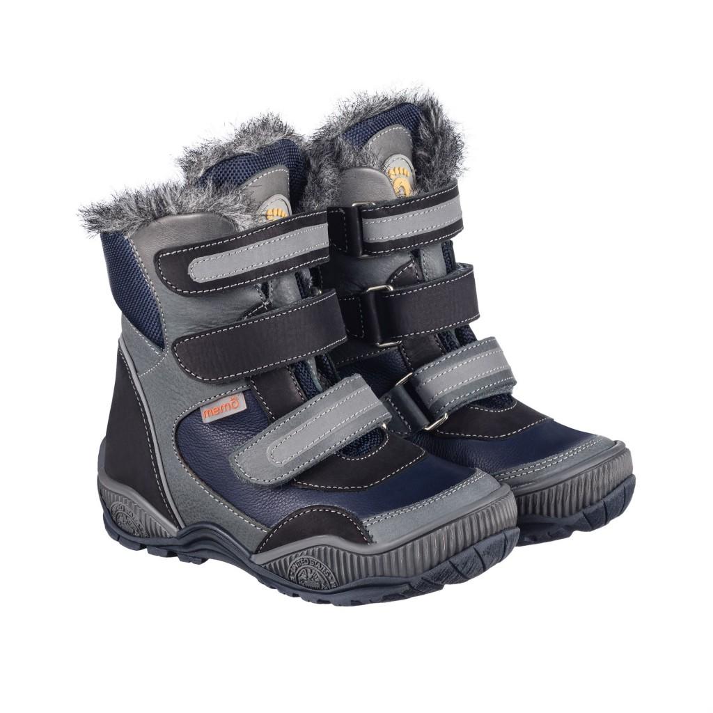 MEMO COLORADO modro-sivé chlapčenské topánky na suchý zips s kožušinkou 22-34