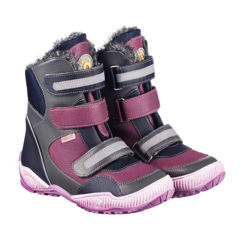 MEMO COLORADO ružovo-sivé dievčenské topánky na suchý zips s kožušinkou 22-34