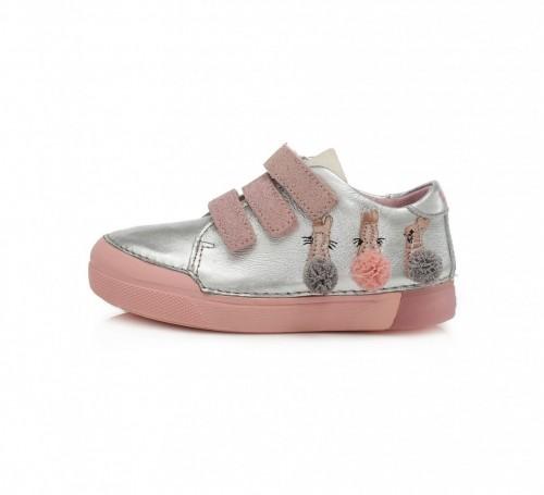 D.D.step strieborno-ružové dievčenské detské topánky na suchý zips 25-30