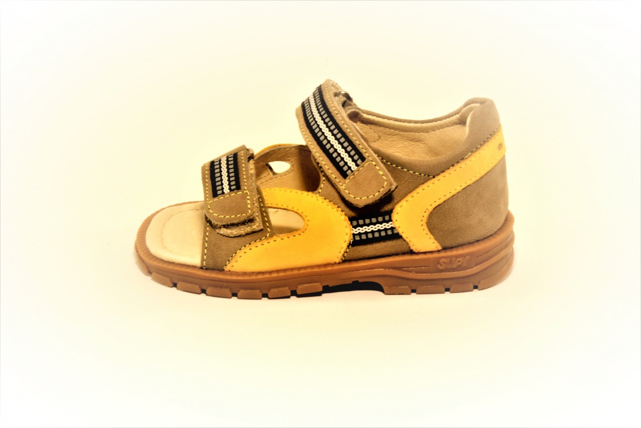Supykids ROMI detské sandále na suchý zips sivo-žlté  20-30