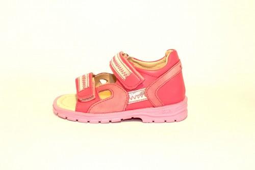 Supykids ROMI detské supinované dievčenské sandále na suchý zips ružovo-strieborné 20-30
