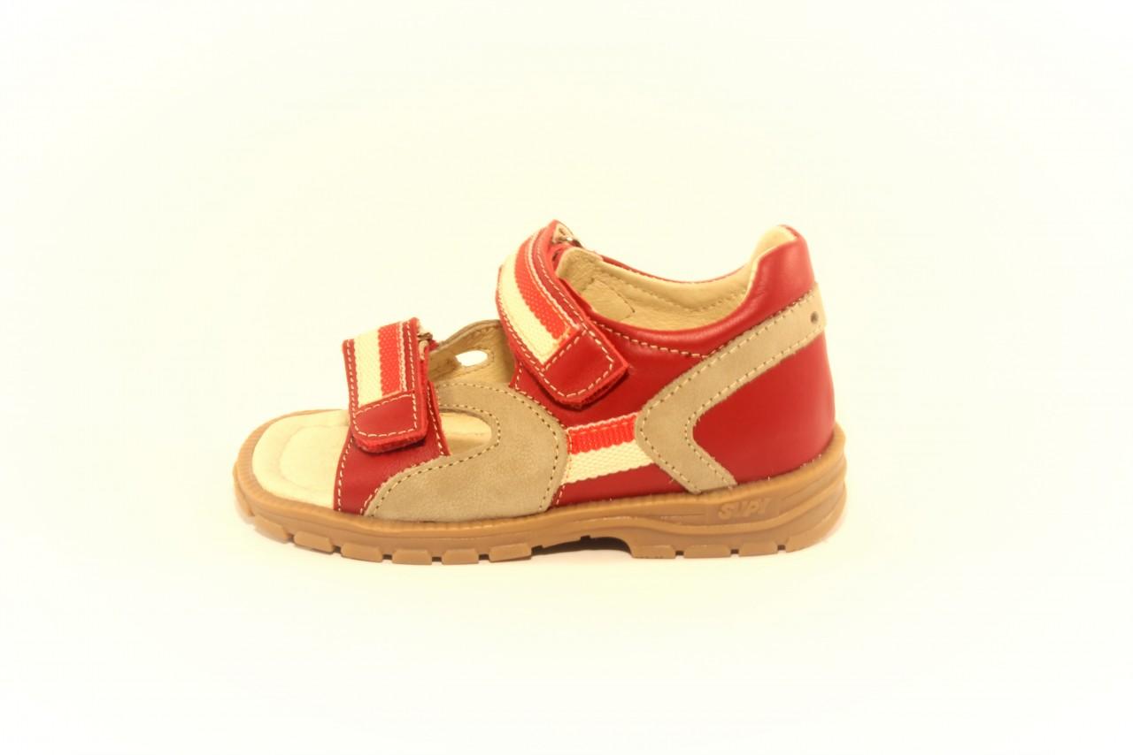 Supykids ROMI detské supinované sandále na suchý zips červeno-sivé 20-30