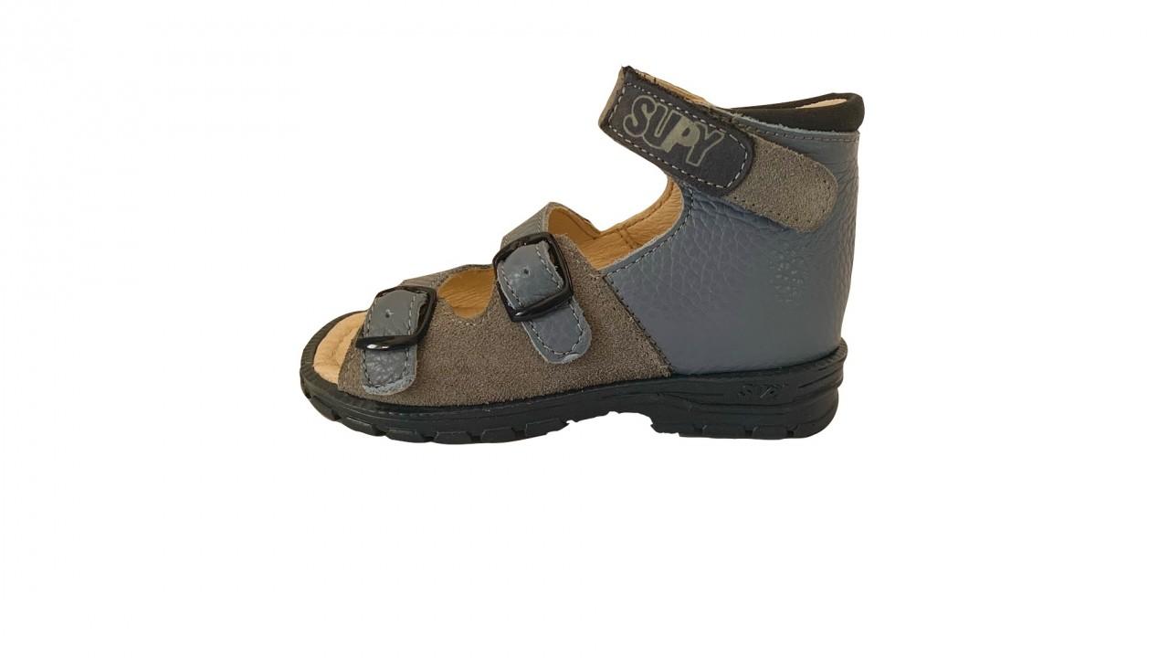 Supykids SASA detské supinované sandále na suchý zips modro-sivé 20-30