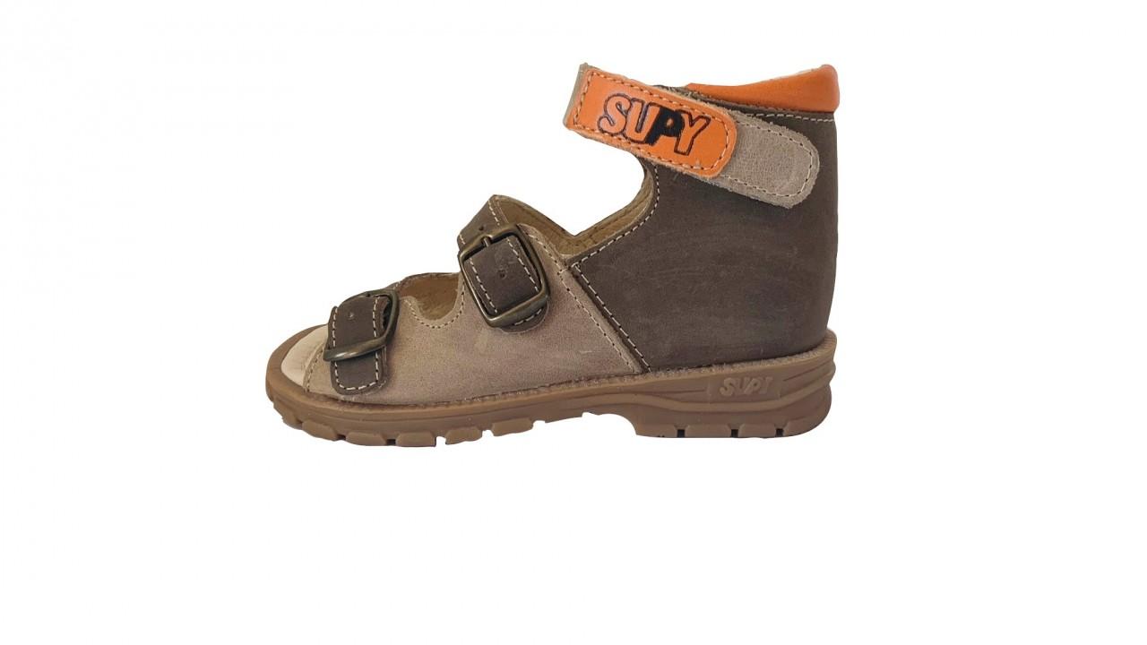 Supykids SASA detské supinované sandále na suchý zips hnedé-béžové 20-30