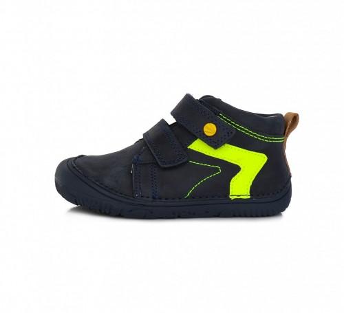 D.D.step modré chlapčenské detské topánky na suchý zips 26-31 s barefoot podrážkou
